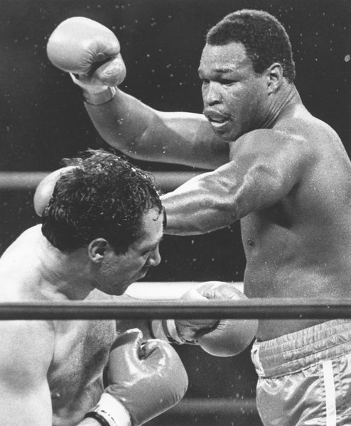 World Boxing Council heavyweight champion Larry Holmes, right, defended his title against Lucien Rodriguez at Scranton's Watres Armory in the NBC-televised match in March 1983. -- Scranton Times-Tribune Archive