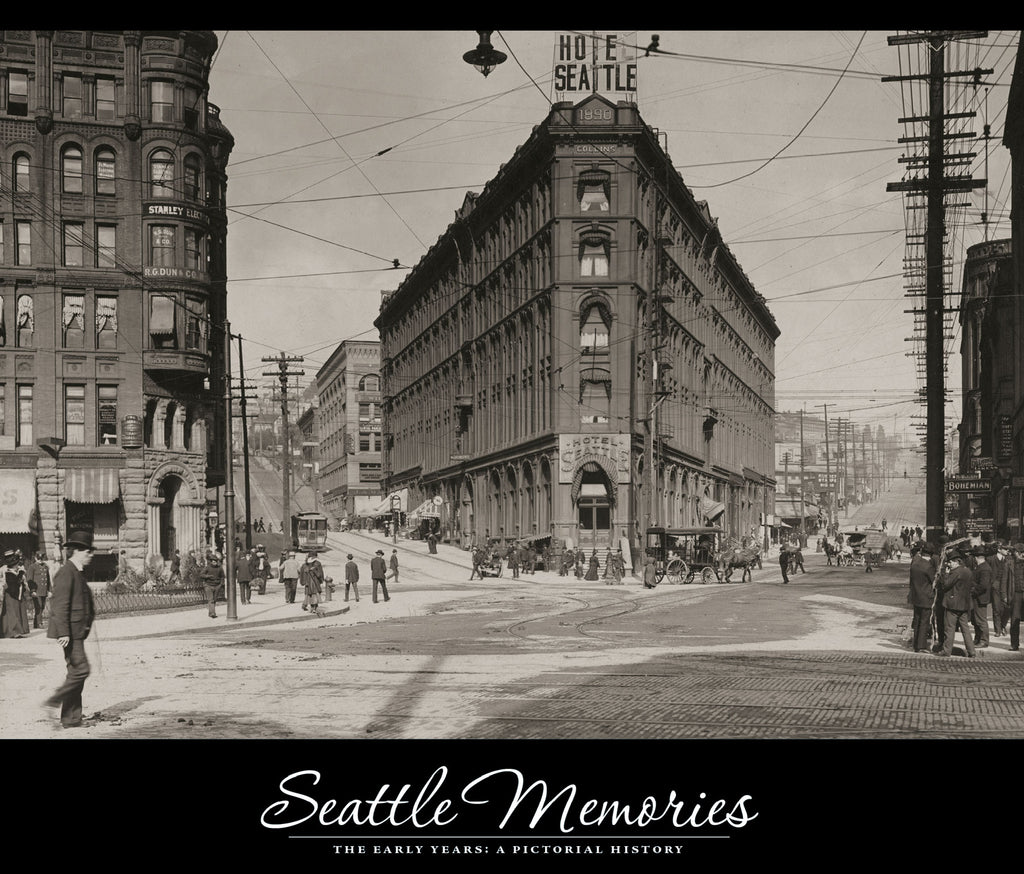 Seattle Memories cover: View of the Seattle Public Library's first home (1891-1894) on the Occidental block on Front Street, James Street and Yesler Avenue, 1892. -- Courtesy Seattle Public Library