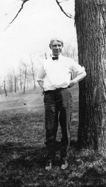 Sandburg on the Stallbohm/Kaske property in Munster, 1922. A friend of the family, Sandburg enjoyed spending time with them on his way to his lake home in Harbert, Michigan. The Kaske House still stands on Ridge Road. -- Courtesy Munster Historical Society