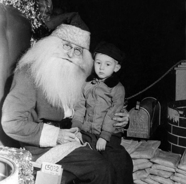 Young Ed Wiman's first visit with Santa Claus at Goldblatt's store in Hammond, 1949. -- BEVERLY (PAPP) WIMAN