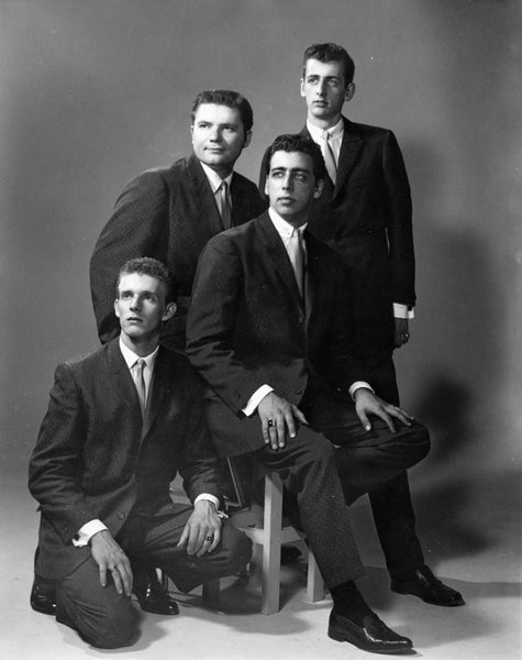 The Kingsmen who later went on to become the Statler Brothers, Staunton, 1963. They started locally as the Four Star quartet in 1955 as a County and Gospel group. From left: Phil Balsey, Lew DeWitt, Harold Reid and Don Reid. -- Augusta County Historical Society