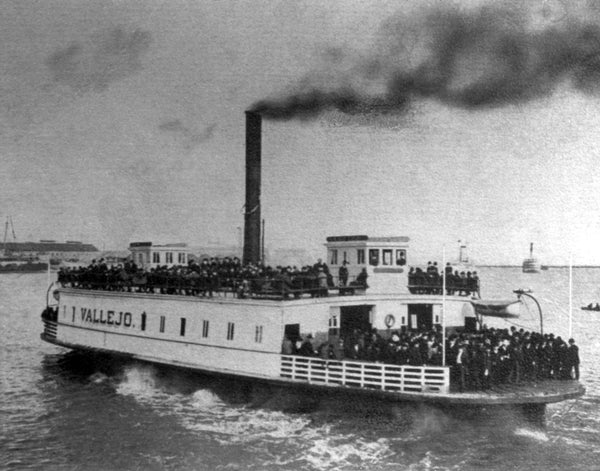 The ferry Vallejo arriving at Vallejo from Mare Island, 1908. The ferry is loaded with Mare Island workers. The ferry operated on the Vallejo-Mare Island run from 1879 to 1947. -- Courtesy Vallejo Naval and Historical Museum