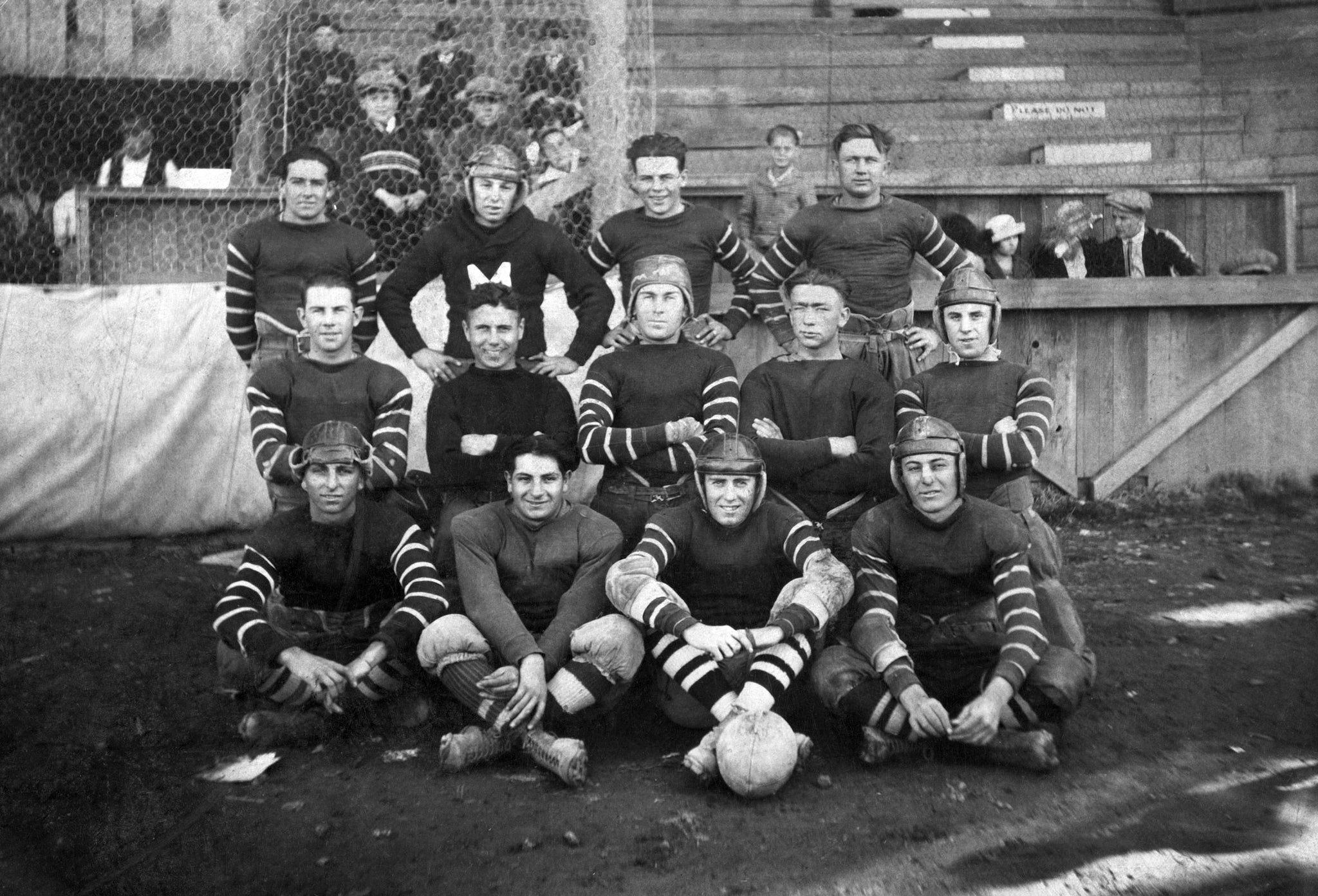 The Junior Moose football squad, 1920. Front row, from left: Antoine Johnson, Albert Strazzo, George Boyle, Richard Terret. Middle row: Dick Boyle, Big Fountain, Vince Walsh, Allie Kenworthy, Leo Little. Back row: Mike Malstead, Norman Seeney, Bert Killerb, Frank Peters. -- Courtesy of the Vallejo Naval and Historical Museum