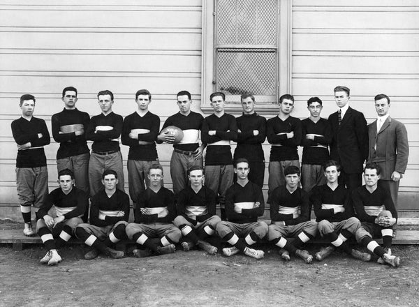 The Vallejo High School football team in front of the high school, 1930. -- Courtesy of the Vallejo Naval and Historical Museum