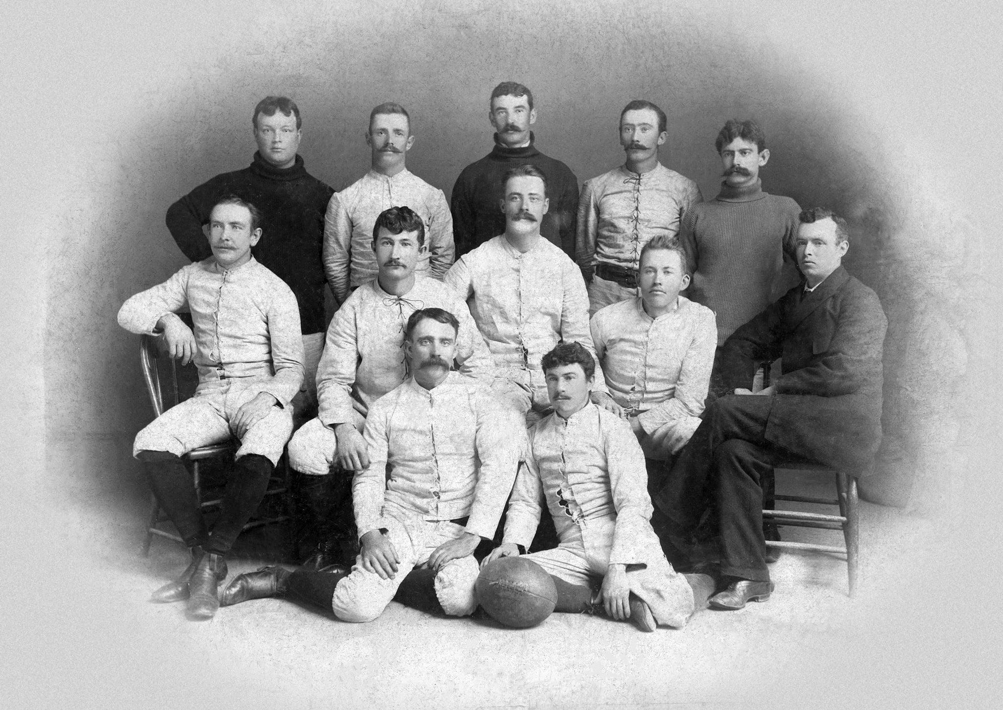 The Farragut Athletic Club football team, circa 1895. Those identified are Ed Cavanaugh, Charles Lee, Thomas McGuire, Joseph McEnry, George Burnap, John Hurley, John Scully, Joseph Walsh, J. W. Cavanaugh, P. W. Brown, and P. Bagan. -- Courtesy of the Vallejo Naval and Historical Museum