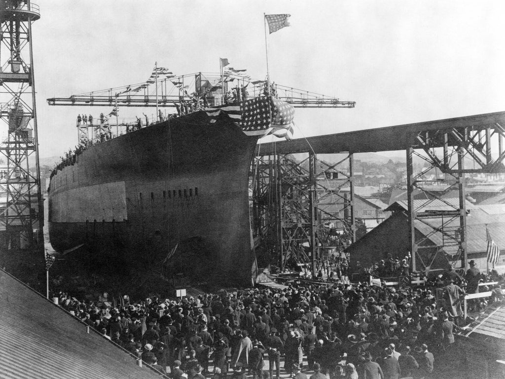 Launching ceremony for the USS California, Mare Island, November 20, 1919. The Mare Island-built battleship was badly damaged in the attack on Pearl Harbor, December, 1941. On March 25, 1942, the ship was finally refloated and towed to dry dock for repairs. -- Courtesy Vallejo Naval and Historical Museum