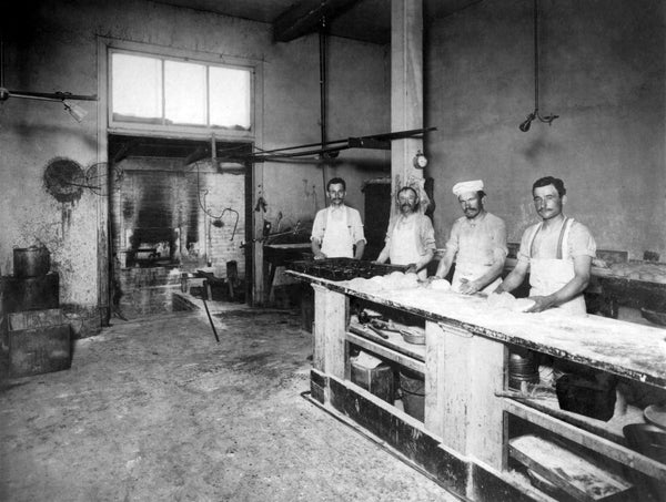 Employees of the Rehm's Bakery, Woodland, 1911. The store was located at 422 Main Street. -- Courtesy of Barbara A. Hollar
