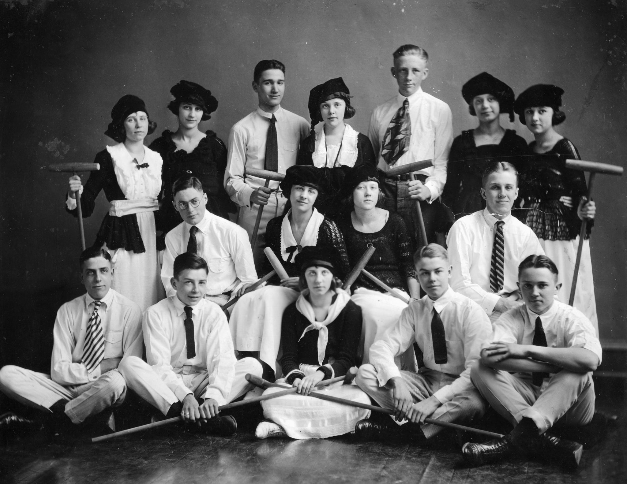 Davenport High School show, circa 1920. Front right is Bix Beiderbecke. His girlfriend, Vera Cox, is back row, second from right. -- Quad-City Times