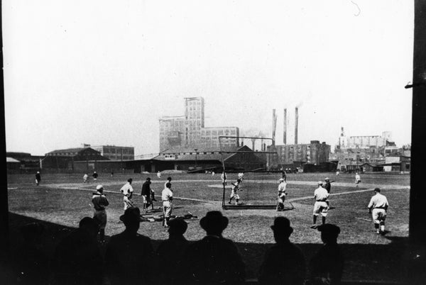 Decatur Commodores playing at Staley Field, 1914. Playing in the Three-I (Illinois-Indiana-Iowa) baseball league, the Commodores were managed by George M. Reed and finished in fourth place with a 72-64 record. -- Macon County History Museum