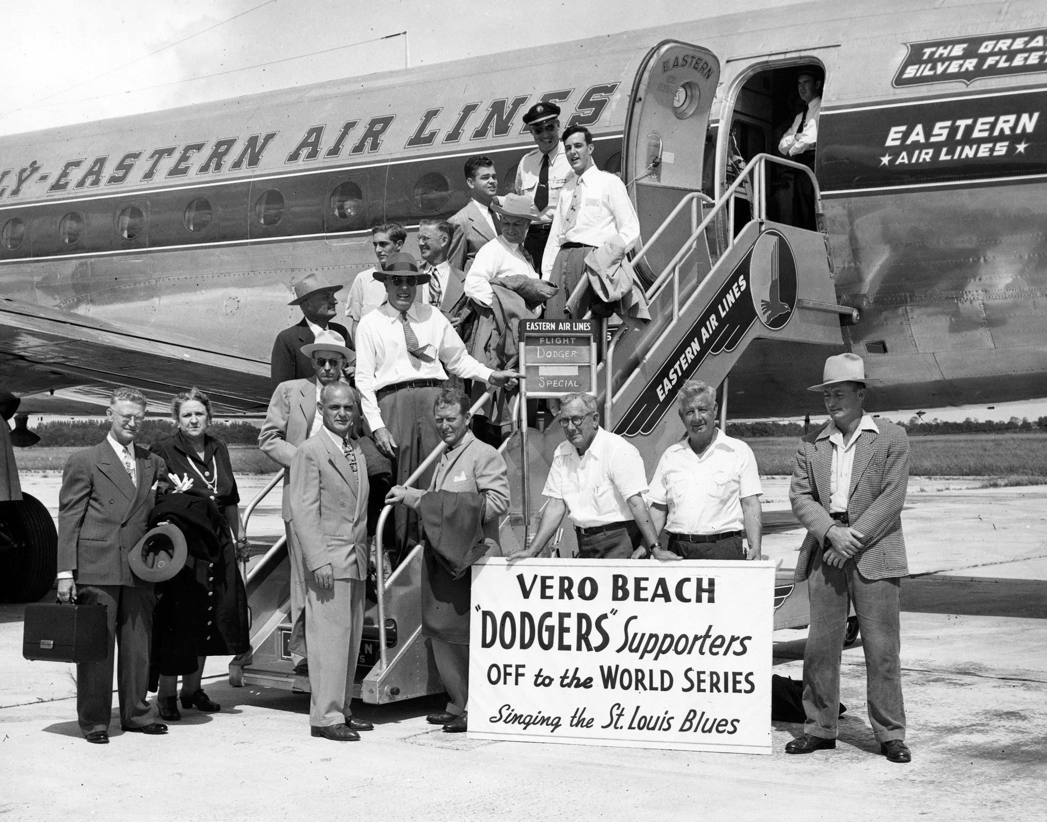 Brooklyn Dodgers supporters from Vero Beach on their way to the 1949 World Series. -- Indian River County Historical Society Collection, Archive Center, Indian River County Main Library