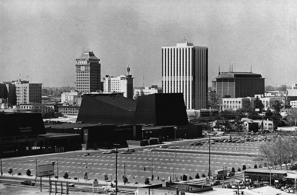 Fresno's downtown skyline from a spot south of the Convention Center, 1968. Behind the convention complex can be seen, from left, the Hotel Californian, Security Bank Building, Fresno Guarantee Building, Del Webb's Towne House, the Pacific Gas and Electric Co. Building and the new Fresno County Courthouse. -- Courtesy of The Fresno Bee