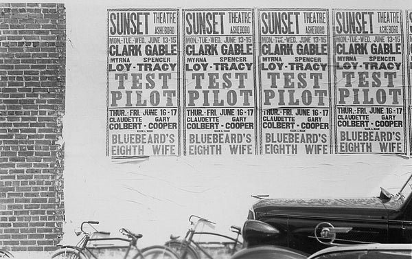 "Advertisements for the 1938 films ""Test Pilot"" and ""Bluebeard's Eighth Wife"" playing at the Sunset Theatre in Asheboro. -- Courtesy of the Randolph County Public Library"