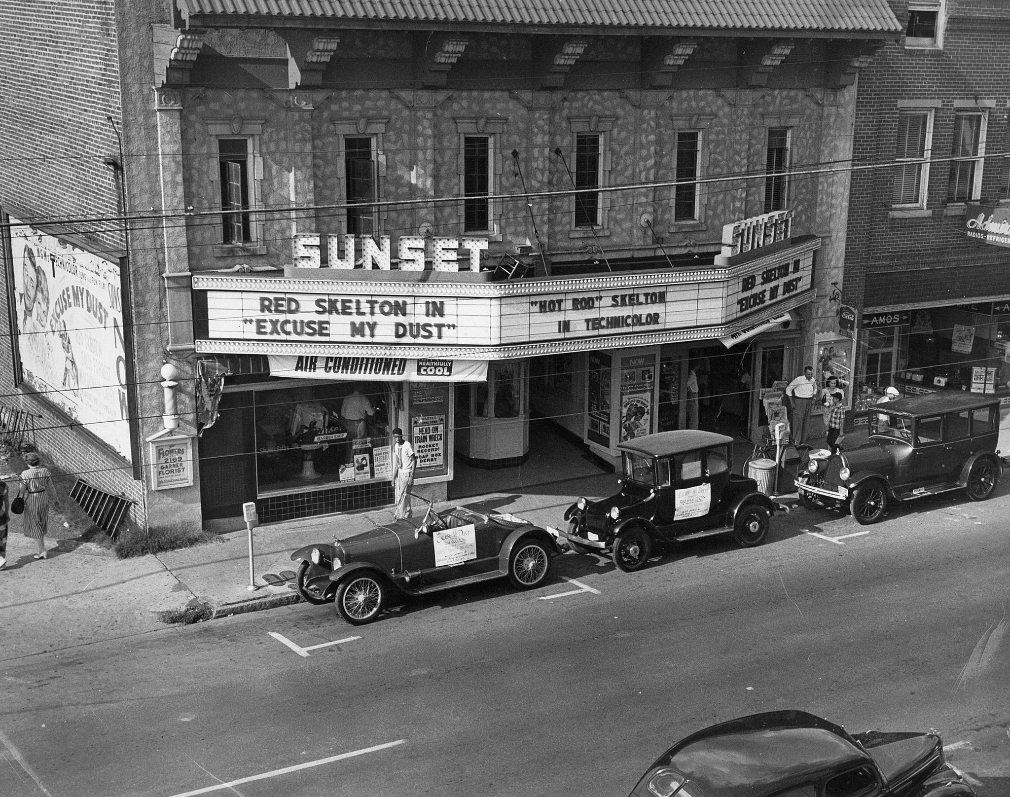 "The Sunset Theatre marquee advertising the Red Skelton films ""Excuse My Dust"" and ""Hot Rod,"" Asheboro, circa 1951. -- Courtesy of the Randolph County Public Library"