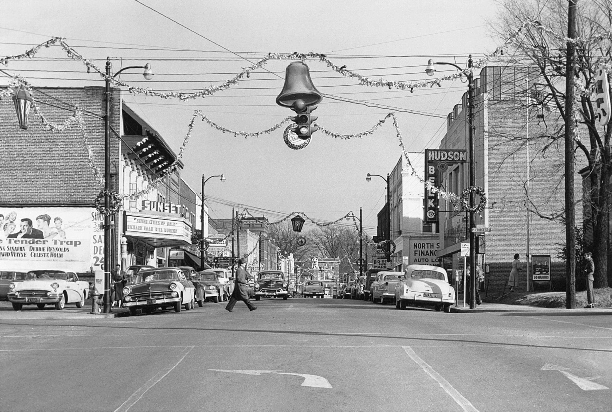 Christmas decorations over Sunset Avenue, Asheboro, circa 1955. -- Randolph County Public Library