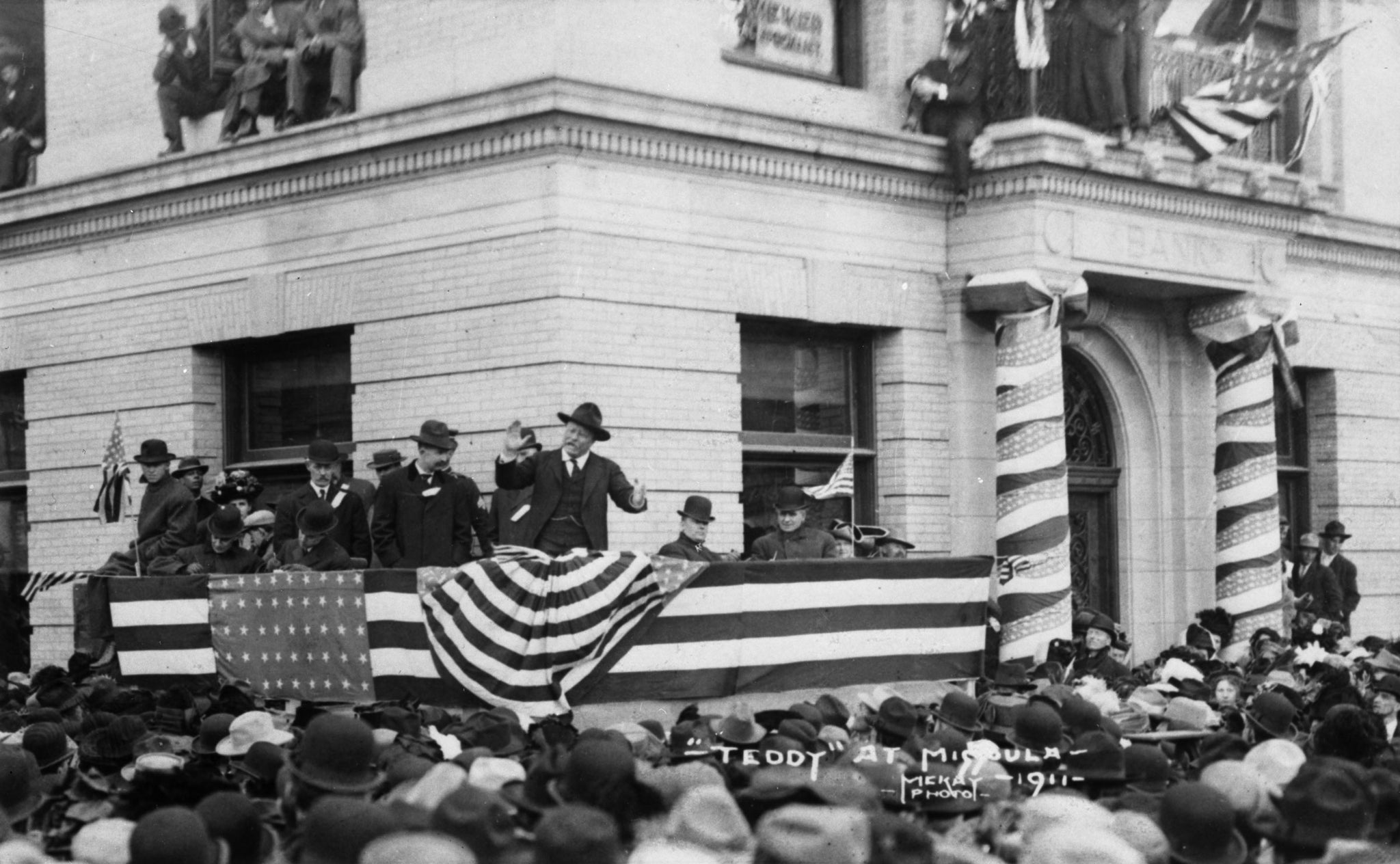 Former president Theodore Roosevelt campaigning in front of the Western Montana Bank building in Missoula, circa 1911. -- Courtesy of Maureen and Mike Mansfield Library, The University of Montana-Missoula (UMT013882)