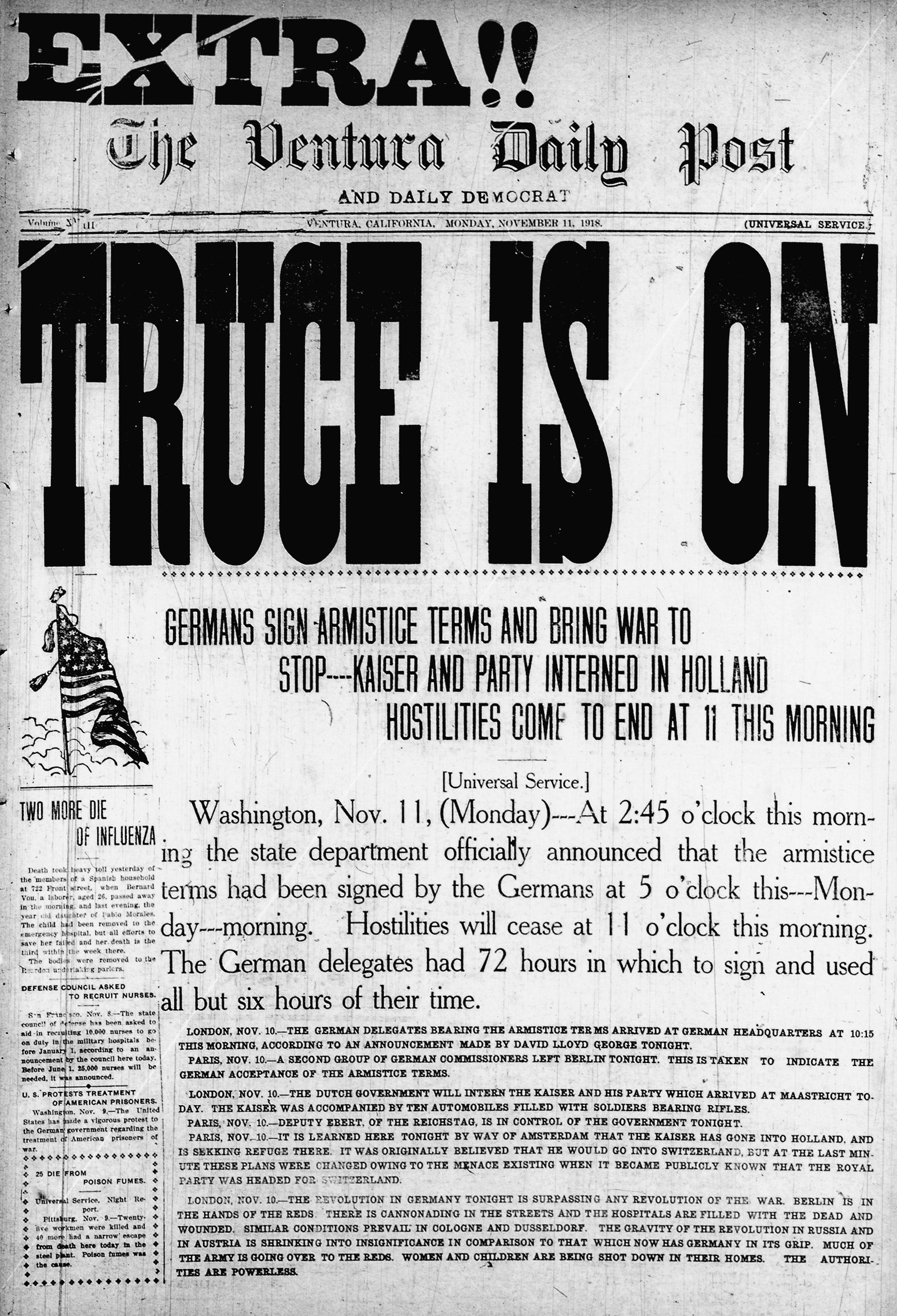 The November 11, 1918, edition of The Ventura Daily Post