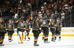 ... Vegas Golden Knights players celebrate after defeating the Arizona  Coyotes 5-2 in an NHL 829934ee9