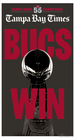 Bucs Win: Tampa Bay Times: Newspaper Front Page Poster Cover