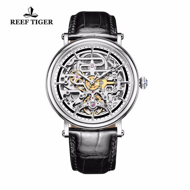 The Reef Tiger Master of Arts: Business Vintage Style Men's Skeleton, Automatic Watch. This is a Ultra-Thin Timepiece with a Leather Strap