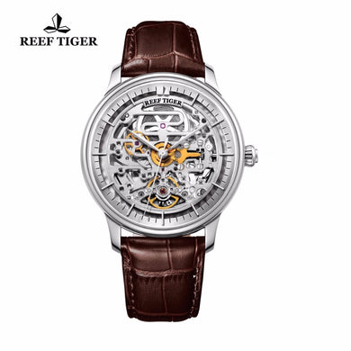 The Reef Tiger Artist Musician: Men's Designer, Skeleton Steel Case Automatic Watch with a Leather Band