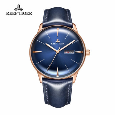 The Reef Tiger Solar Pattern: Men's Luxury, Dress, Automatic Watch with Blue Dial, Leather Brand and Convex Lens