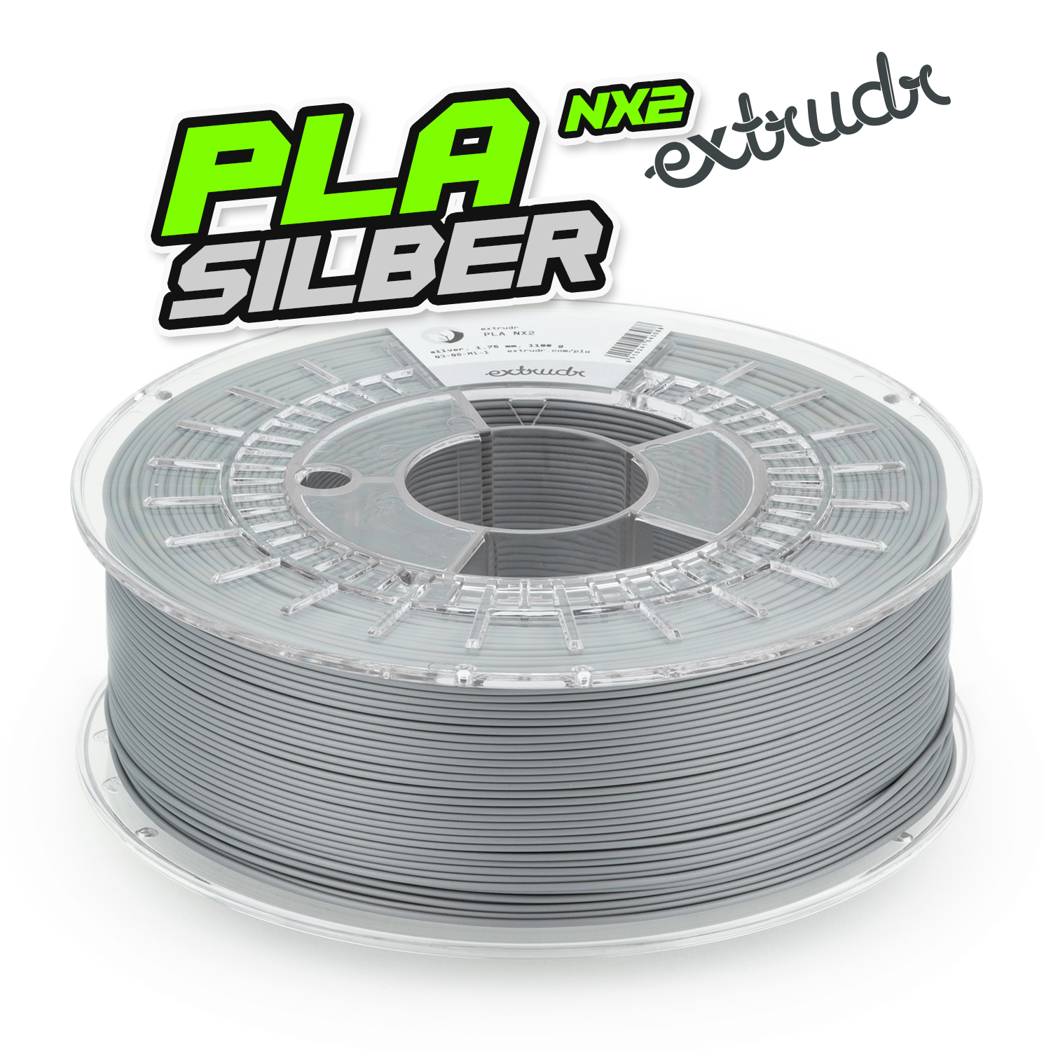 Extrudr PLA NX2 - Silber [1.75mm] (23,62€/Kg)