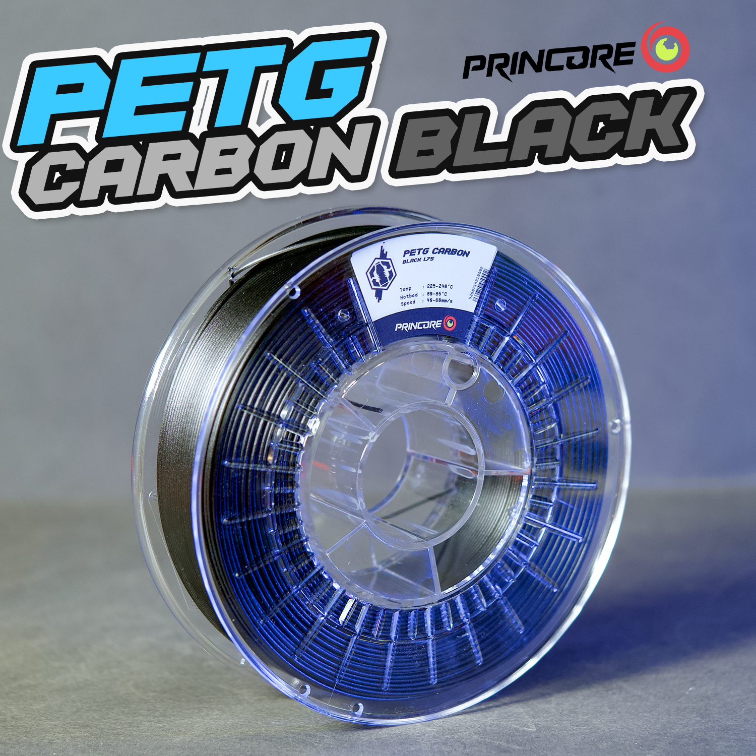 PRINCORE PETG CARBON - Black [1.75mm] (56,23€/Kilo)