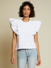 NATION- Para Bubble Sleeve Top In White