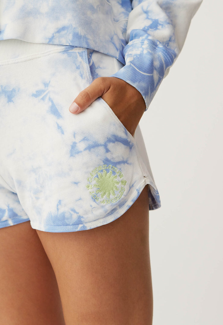 PRE-ORDER: DAYDREAMER- Sunny People Sweat Short In Periwinkle Cloud