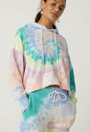 DAYDREAMER- LA Eye Shrunken Hoodie In Prismatic Tie Dye