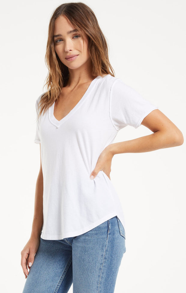 Z SUPPLY - The Organic Cotton V-Neck Tee - White