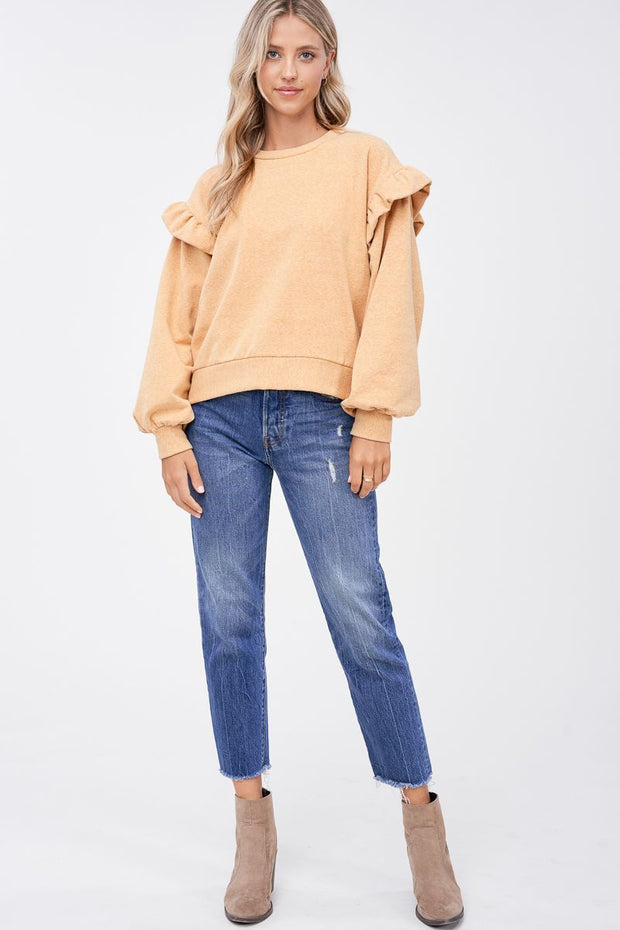 Willow Ruffle Knit Long Sleeve Top