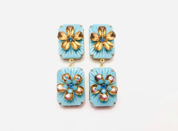 Diana Turquoise Camphor Statement Earrings