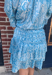 Roxy Metallic Blue Snakeskin Pleated Skirt