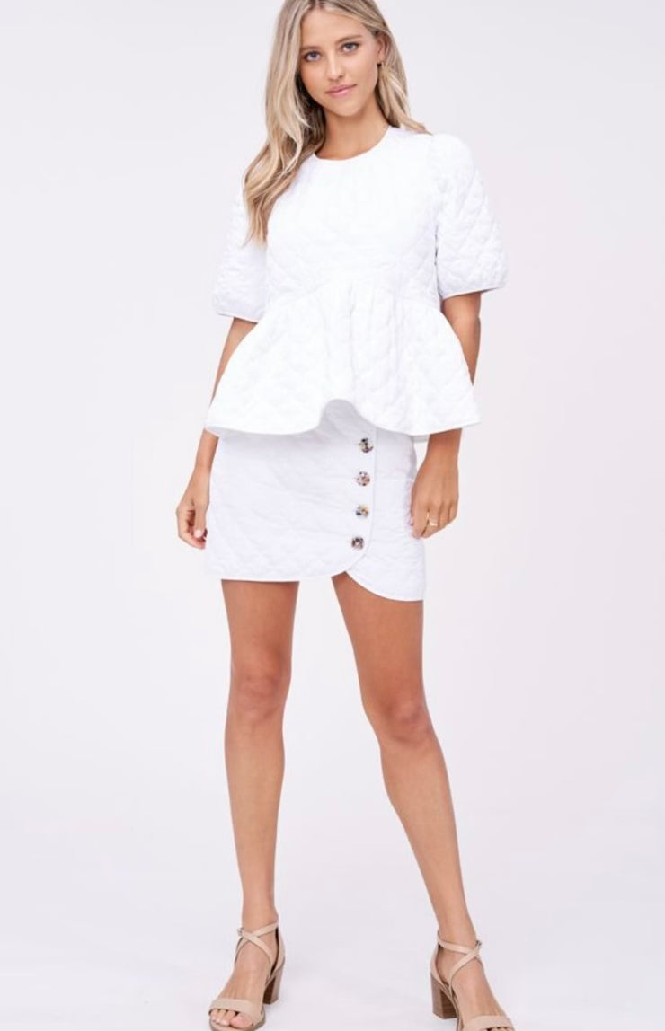 EN SAISON-Summer In Santorini Quilted Peplum Top