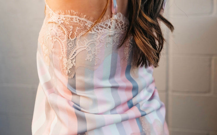 Pastel Adjustable Striped Lace Cami