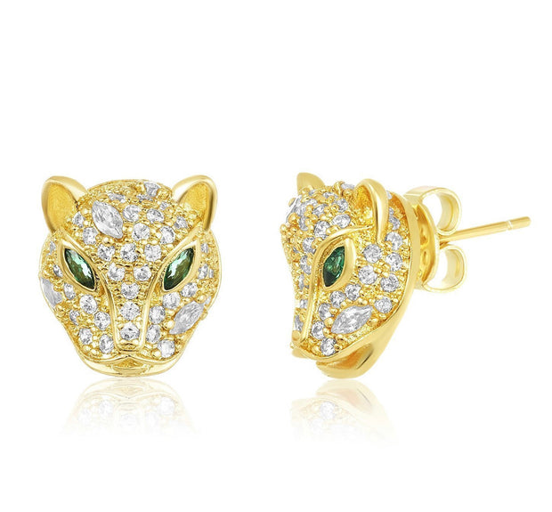 Baby Jaguar Stud Earrings - Emerald/White Diamondettes