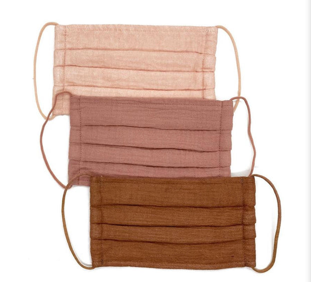 Cotton Face Mask Set Of 3 - Dusty Rose