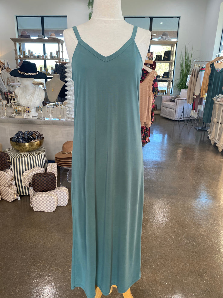 Basic Tank Midi Dress - Teal