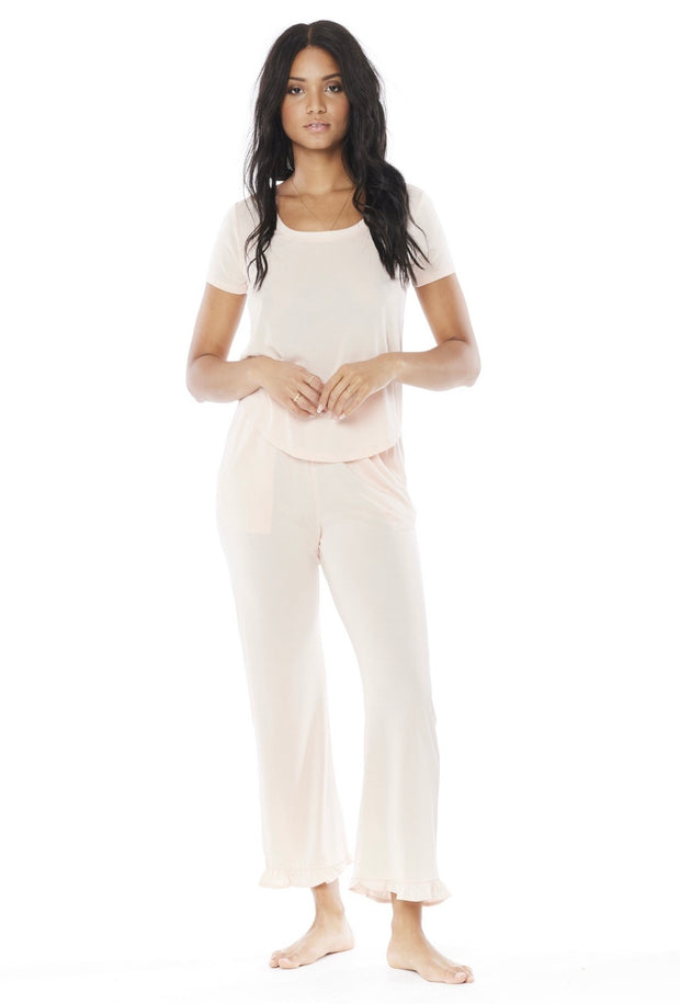 SALTWATER LUXE- Ruffle Bottom Knit Pant Lounge Set