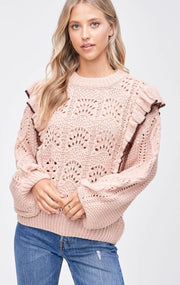 Mimosas For Brunch Ruffle Sweater