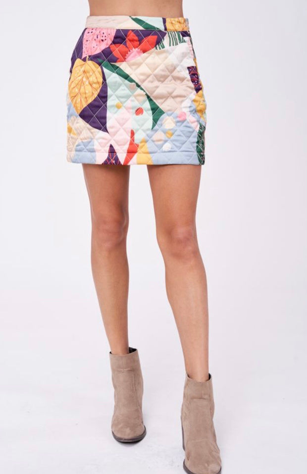 EN SAISON- Midnight Margaritas Quilted Floral Mini Skirt