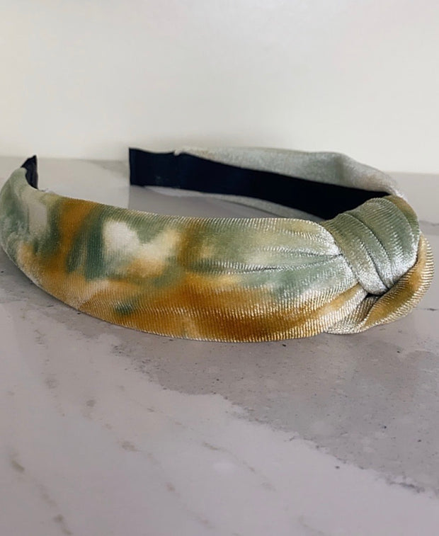 Fall Velvet Top Twist Headband - Gold & Green