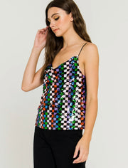 Gentlemen, Start Your Engines Sequin Cowl Neck Cami Top