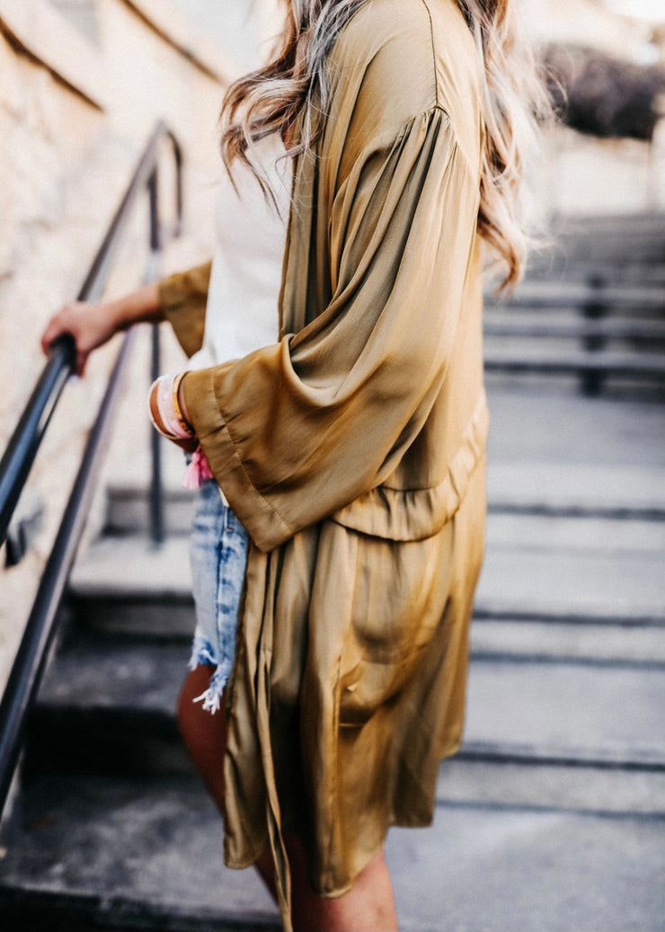 Chelsea Citrine Satin Robe Cardigan