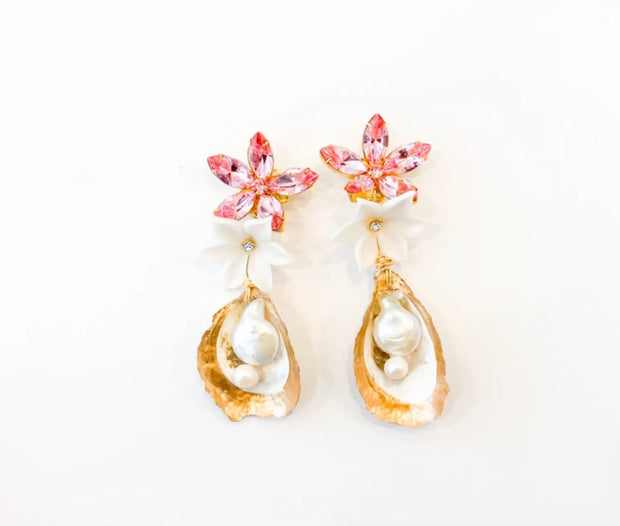 Bonnie Floral Oyster With Pink Crystal Burst