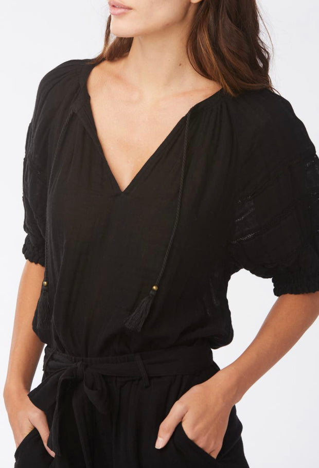 WE ARE SUNDAYS- Colette Gauze Top in Black