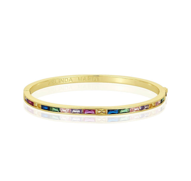Claire Bangle Bracelet - Rainbow Diamondettes