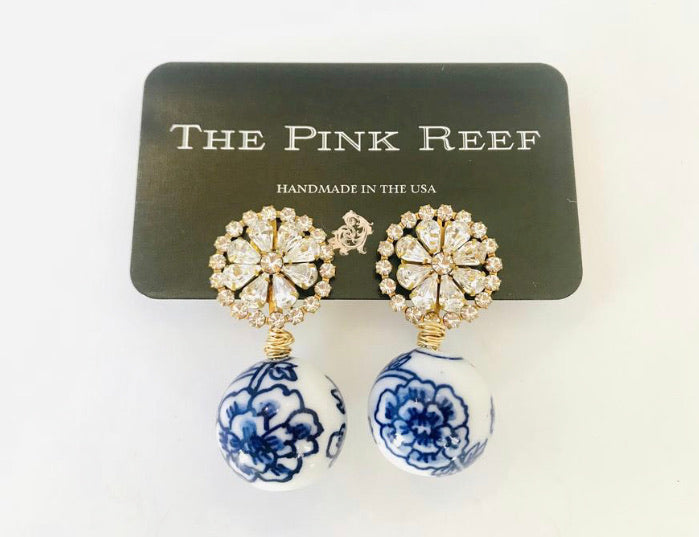 Valentina Chinoiserie With Crystal Burst Sphere Earring