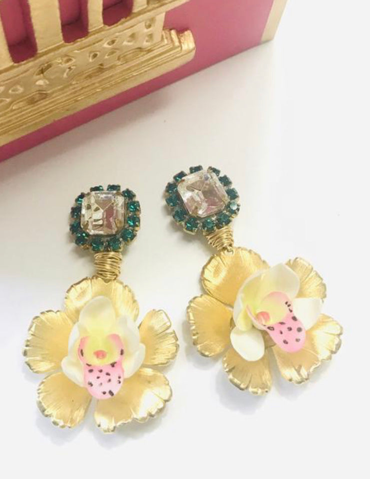 In Full Bloom Emerald Orchid Earrings